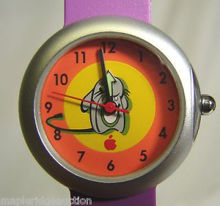 NEW Vintage Apple Computer Logo MOUSE Watch c.1998, Youth/Kids Purple