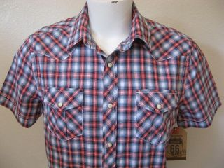 NEW Mens Rockabilly Rebel Size L Red Plaid S/S Western Cowboy Pearl