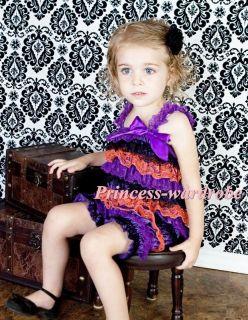 Halloween NewBorn Baby Black Rainbow Layer Chiffon ONE PIECE Petti