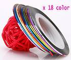 Lot of 18 Color Rolls Striping Tape Line Nail Art Decoration Sticker.