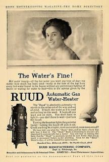 1910 Ad Ruud Manufacturing Automatic Gas Water Heater   ORIGINAL