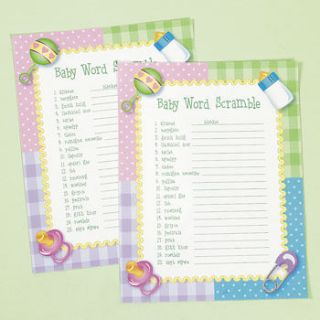 24 Baby Shower Party Game BABY WORD SCRAMBLE   NEW