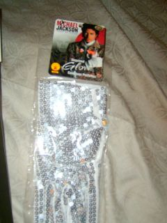 MICHAEL JACKSON WHITE SEQUIN COSTUME GLOVE LARGE LAST PAIR