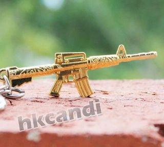 GOLD Gun mini Military Melee Weapon Model M4 Key Chain keyfob keyring