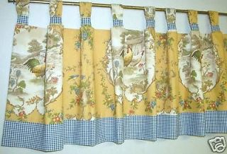 French Country Tab Top Valance Country Fair Toile; gold