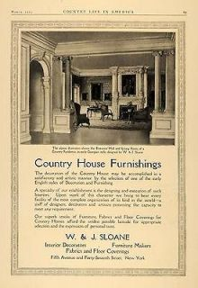 1913 Ad W.J. Sloane Country House Georgian Furniture   ORIGINAL