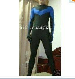 New lycra spandex zentai superhero halloween costume nightwing S XXL