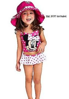NEW Disney Minnie Mouse 3D Bow Pink & White Polka Dot 2pc Swimsuit 2T