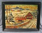 BY NUMBERS OIL PAINTING~COVERED BRIDGE~SNOW SCENE~LANDSCAPE~FRAME