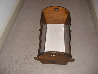 VINTAGE HAND MADE WOODEN BABY DOLL ROCKING CRADLE WITH CUSHION