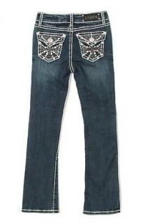 NWT LA IDOL Jeans KIDS Crystal All Spanish Cross Pocket Boot Sz 7 So