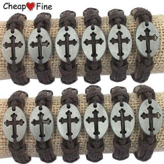 Wholesale lots 12 pcs CROSS Genuine leather bracelet For mans Special