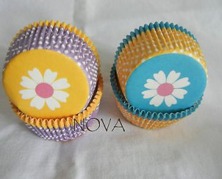 daisy yellow blue Cupcake liners baking paper cup muffin case 50x33mm