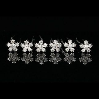 Bridal Party Prom Flower Snowflake Crystal Wedding Hair Pins