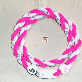 Phiten Tornado Custom Necklace Hot Pink with White