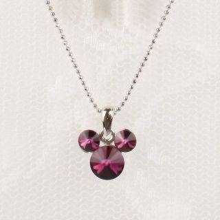 Gold GP Necklace Purple Swarovski Crystal Mickey Mouse Pendant Jewelry