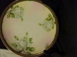 Three Crown China Germany Hand Painted 8 Plate White Roses Gold Trim