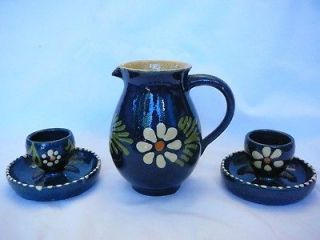 VTG Set Mexican Pitcher and Egg Cups Cobalt Pottery
