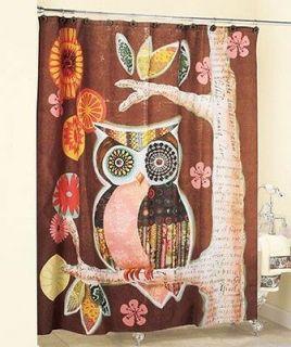 BIG EYED OWL ON A TREE BATHROOM SHOWER CURTAIN WITH 12 CERAMIC HOOKS