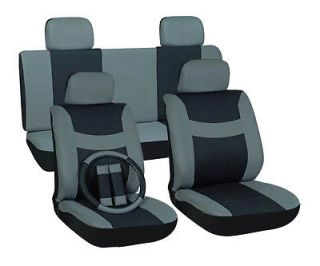 Gray and Black Car Seat Covers 11 Piece FREE Steering Wheel Belt Pad