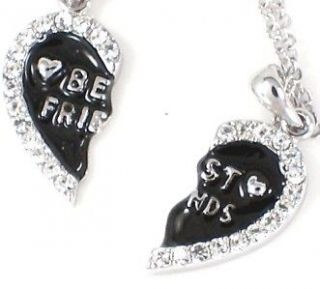 FRIEND Heart Black 2 Pendants 2 Necklaces Friendship Fast Ship USA