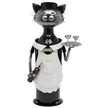 NEW GIFT   WINE OR SPIRIT BOTTLE HOLDER CAT WAITRESS / WAITER (WHITE