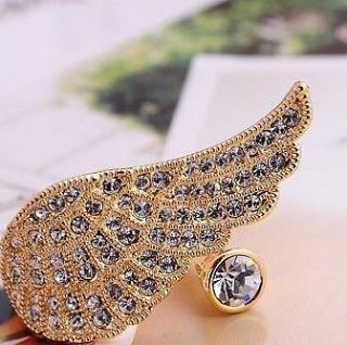 European Great Gift Unique Design Lovely Sweet Rhinestone Angel Wing