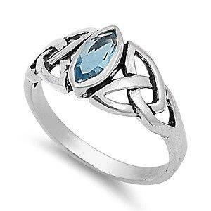Sterling Silver Aquamarine CZ Ring Irish Celtic Knot Design Band 925