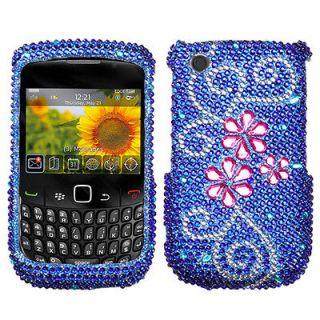 Flower Rhinestone Bling Hard Case Cover Blackberry Curve 8520 8530