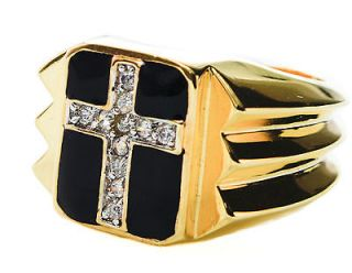carat 11 stone MENS Cross RING Russian CZ 18k yellow gold overlay