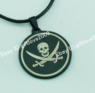 34mm skull head Knife Black Stainless Steel Pendant Leather Necklace