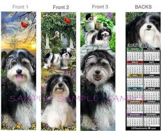 HAVANESE Shaggy Black White Dog CALENDAR 2013 Bookmark Card Figurine
