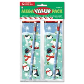 12 Christmas Ice Skating Polar Pals Pencil Eraser Stickers Favour