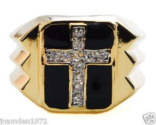 11 stone 1.1 carat CZ CLASSIC MENS Cross RING 18K yellow gold overlay