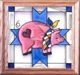 Country Farm Decor Hog Pig Hand Painted Glass Window Panel 13x13