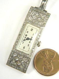 WOMENS ANTIQUE 18K WHITE GOLD DIAMOND ROLEX ART DECO WRISTWATCH c1928