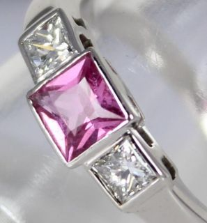 ART DECO DIAMOND & PINK SAPPHIRE TRILOGY 18CT WHITE GOLD LADIES RING
