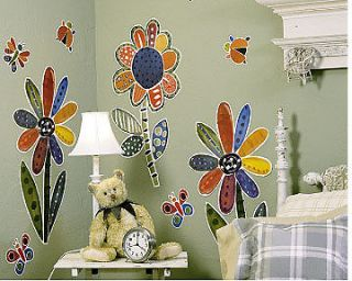 Large Flowers Butterfly Lady Bug Murals Wall Decor Art Stickers Decal