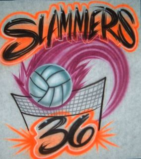 Airbrush Personalized T shirt Volleyball Design With Name Number