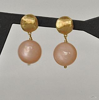 New $770 MARCO BICEGO 18K Gold Orange Moonstone Drop Earrings SALE