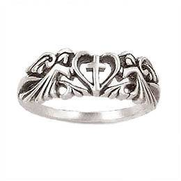 NEW Popular Heart with Angels Cross Purity Ring