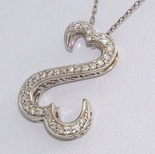 14K Solid White Gold 0.25ct Diamond Open Heart Necklace 18   20
