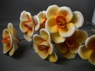 Capodimonte Single Long Stemmed Yellow Hand Painted Flowers Vintage