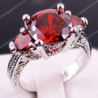 Jewellery Brand New ruby ladys 10KT white Gold Filled Ring sz7/8/9