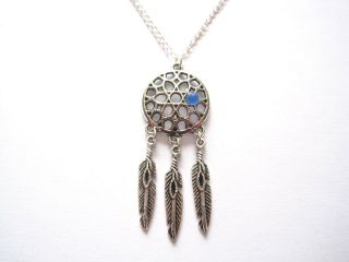 listed Mens Leather Necklace with Pewter Wolf Dreamcatcher Pendant