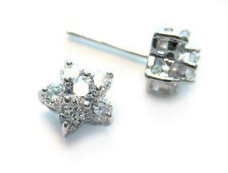 White Gold Plated CZ Diamond Flower Stud Earrings / 8mm Flower Cluster