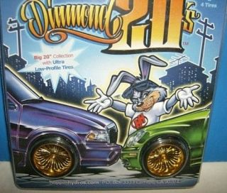 hoppin hydros 1/24 DIAMOND 20s GOLD WIRE WHEELS & TIRES