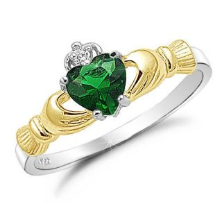 Two Tone Gold Plated Sterling Silver Claddagh Ring Emerald CZ  SR362G