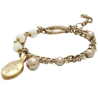 BRAND NEW LADIES FOSSIL GOLD PLATED LOCKET BRACELET WAS £70 NOW £24