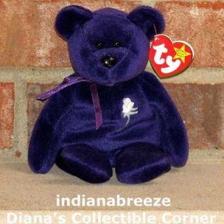 PRINCESS ~ White Rose Purple (Diana) Bear ~ Ty Beanie Baby ~ MINT TAGS